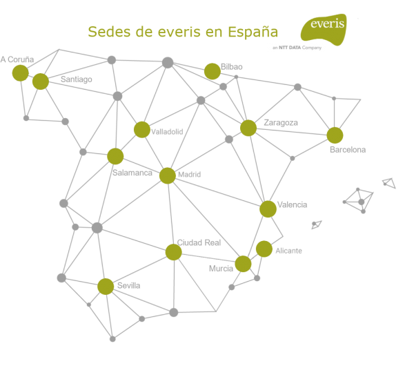 mapa con las sedes de la consultora everis en españa